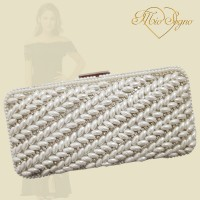 Clutch zilver parel/strass