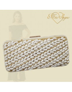 Clutch goud parel/strass