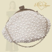 Parel clutch zilver
