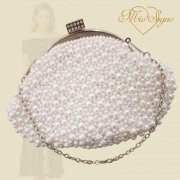 Parel clutch zilver/wit
