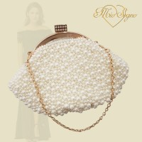 Parel clutch goud/creme