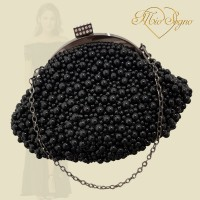 Parel clutch zwart