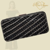 Clutch zwart parel/strass