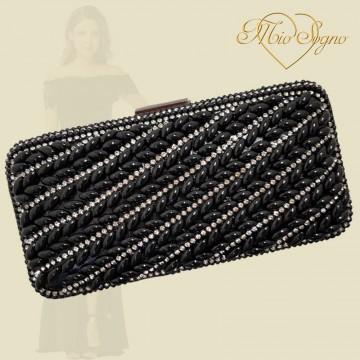 Clutch zwart parel/strass