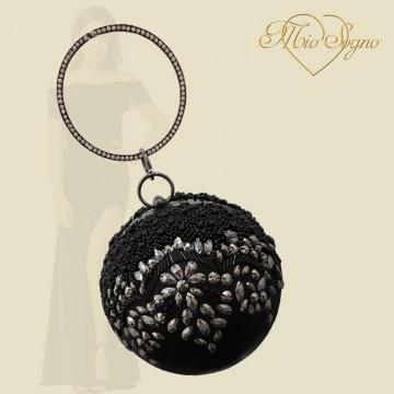 Clutch bol zwart glitter