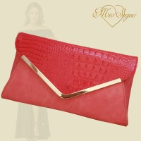 Clutch koraalrood croco